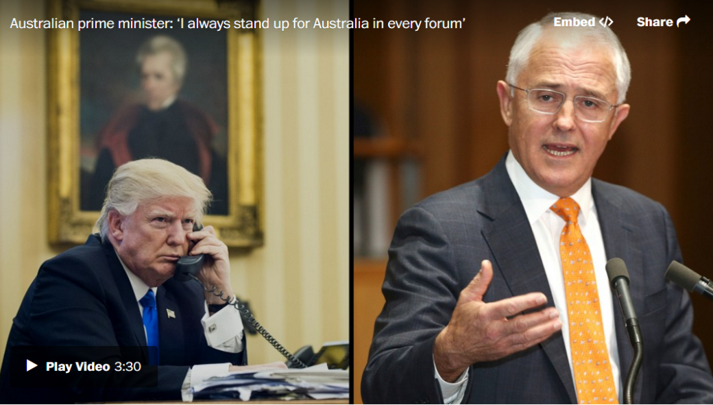 "After what President Trump reportedly called ""the worst call by far,"" with Australian Prime Minister Malcolm Turnbull on Jan. 28, Turnbull gave sparse details but said, ""I stand up for Australia in every forum, public or private,"" in a news conference on Feb. 2. (Video: AuBC via AP / Photo: AP and Bloomberg)"