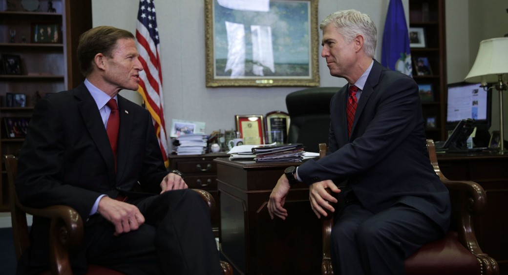 Supreme Court nominee Judge Neil Gorsuch meets with Sen. Richard Blumenthal in Blumenthal's office on February 8. | Getty