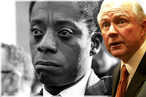 "Jeff Sessions; James Baldwin in ""I Am Not Your Negro"" (Credit: Getty/Alex Wong/Magnolia Pictures)"