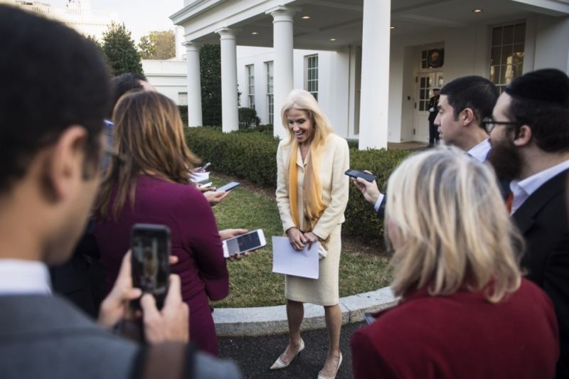 Counselor to the president Kellyanne Conway talks to reporters outside the West Wing at the White House on Tuesday, Feb. 07, 2017. (Photo by Jabin Botsford/The Washington Post)