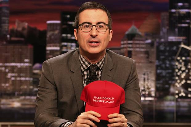 "John Oliver with a ""Make Donald Drumpf Again"" cap (Credit: HBO/Eric Liebowitz)"